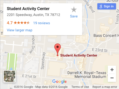 Map of the William C. Powers, Jr. Student Activity Center (WCP)